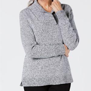 Karen Scott Sweater Shawl Pullover White Marl Knit
